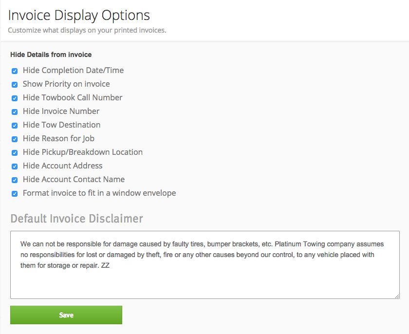 Invoice Options
